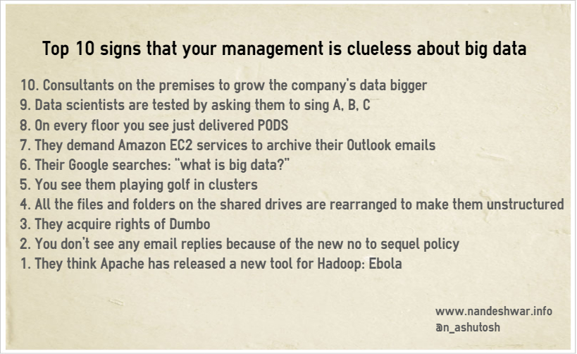 Top 10 signs that management is clueless about big data